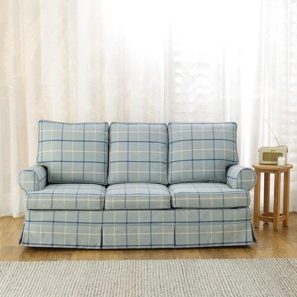 Highland Check - Sky - Sofa Cover