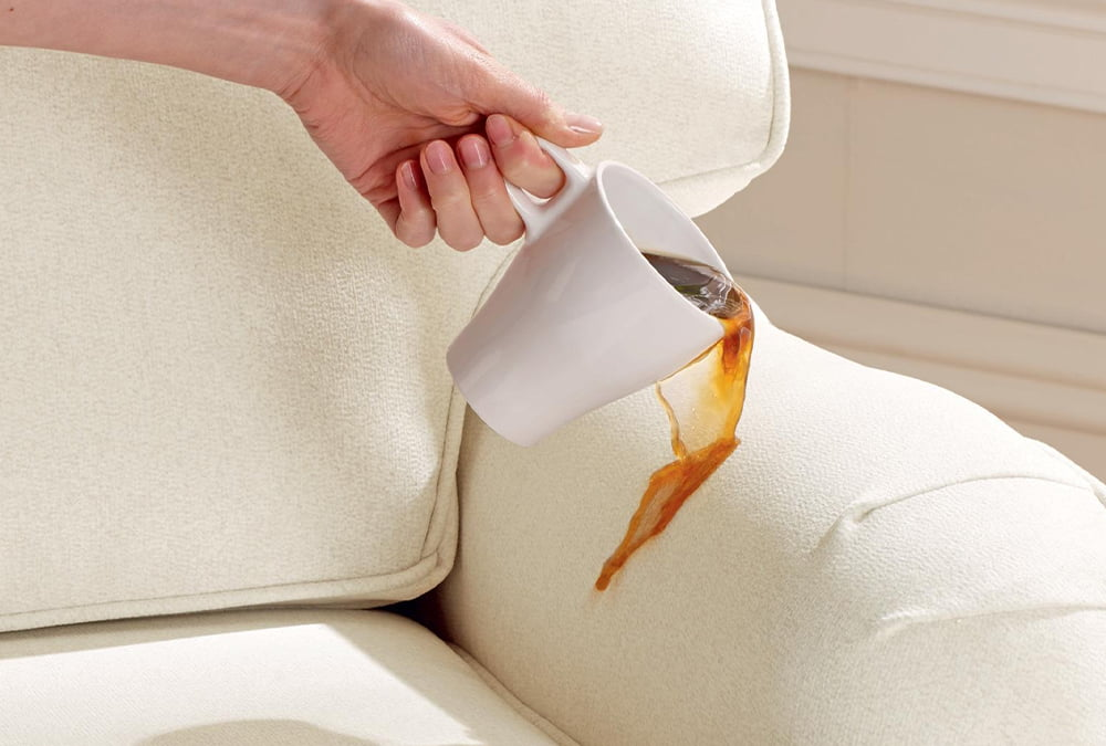 Aquaclean sofa with coffee stain