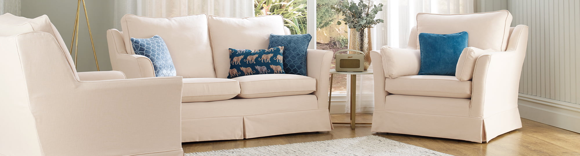 Bespoke sofa covers in Luxury Cotton Weave - Stone