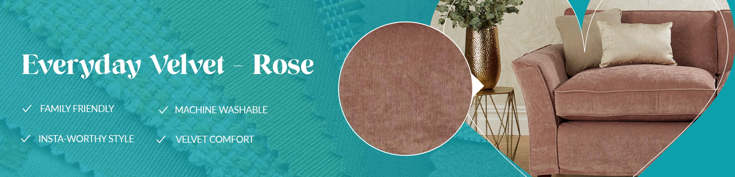Everyday Velvet - Rose, our favourite fabric this month for replacement furniture covers